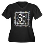 Scientist Retro Women's Plus Size V-Neck Dark T-Sh
