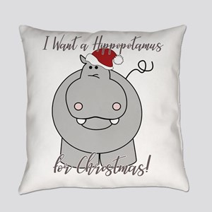 Funny Hippopotamus Christmas Gift Everyday Pillow