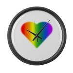 Gay Pride Rainbow Love Large Wall Clock