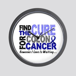 Find The Cure Colon Cancer Wall Clock