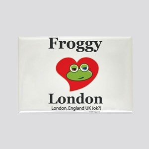 Froggy Loves London Rectangle Magnet