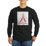 Paris France Original Merchan Long Sleeve Dark T-S