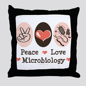 Peace Love Microbiology Throw Pillow