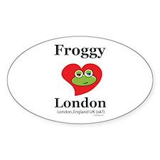 Froggy Loves London Oval Sticker