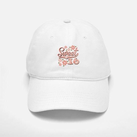 Pretty Pink Sweet 16 Baseball Baseball Cap