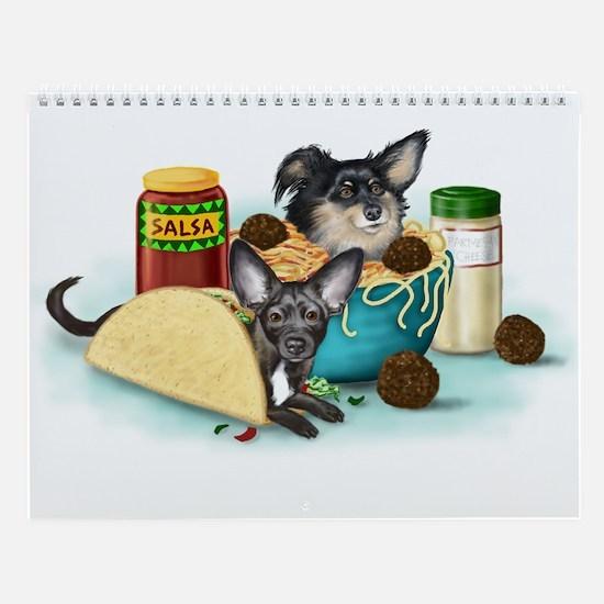 Taco-Paco & Meatball Chihuahu Wall Calendar