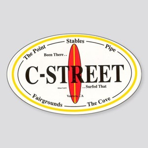 C-Street Surf Spots Oval Sticker