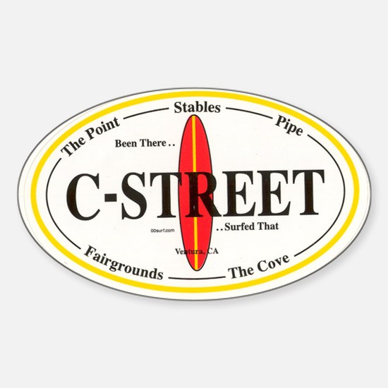 C-Street Surf Spots Oval Decal