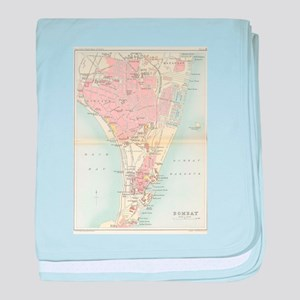 Vintage Map of Bombay India (1893) baby blanket