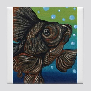Black Moor Goldfish Tile Coaster