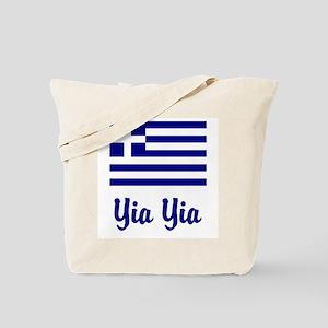 Yia Yia with Greek Flag Tote Bag