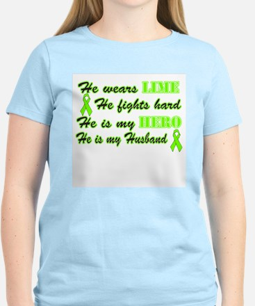 He is a Husband and Hero Lime Women's Light T-Shir