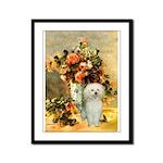 Vase / Poodle (White) Framed Panel Print