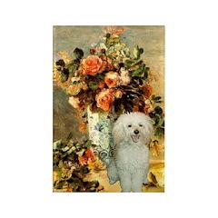 Vase / Poodle (White) Rectangle Magnet (100 pack)