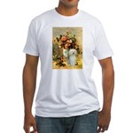 Vase / Poodle (White) Fitted T-Shirt