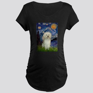 Starry / Poodle (White) Maternity Dark T-Shirt