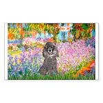 Garden / Poodle (Silver) Sticker (Rectangle)