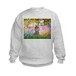 Garden / Poodle (Silver) Kids Sweatshirt