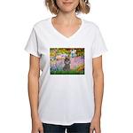 Garden / Poodle (Silver) Women's V-Neck T-Shirt
