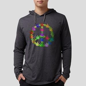 Rainbow Peace Marijuana Leaf Art Long Sleeve T-Shi