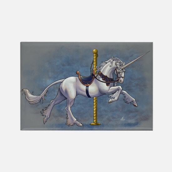 Carousel Unicorn Rectangle Magnet