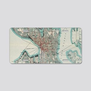 Vintage Map of Seattle Wash Aluminum License Plate