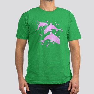 Pink Dolphins Men's Fitted T-Shirt (dark)
