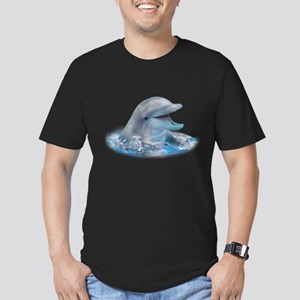 Happy Dolphin Men's Fitted T-Shirt (dark)
