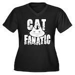 Cat Fanatic Women's Plus Size V-Neck Dark T-Shirt