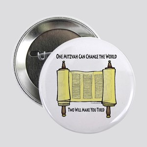 """One Mitzvah Can Change the Wo 2.25"""" Button (100 pa"""