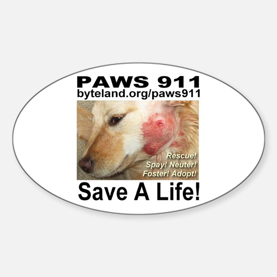 Paws 911 Oval Decal