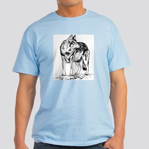 Wolf on Rocks Sketch Light T-Shirt