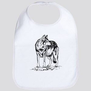 Wolf on Rocks Sketch Bib