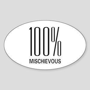 100% Mischievous Oval Sticker
