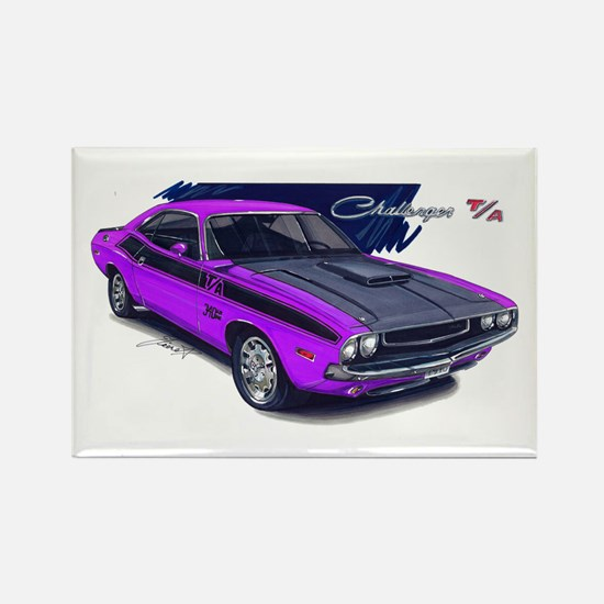 Dodge Challenger Purple Car Rectangle Magnet