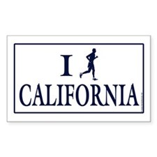 Men's I Run California Rectangle Sticker