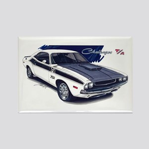 Dodge Challenger White Car Rectangle Magnet