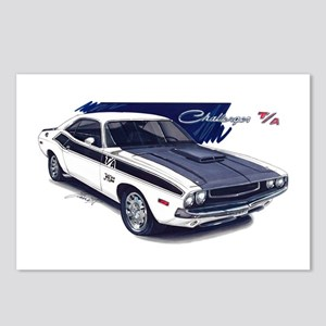 Dodge Challenger White Car Postcards (Package of 8