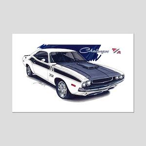 Dodge Challenger White Car Mini Poster Print