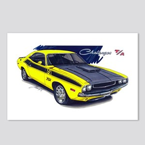 Dodge Challenger Yellow Car Postcards (Package of