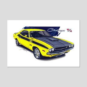 Dodge Challenger Yellow Car Mini Poster Print
