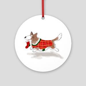 Brindle Cardigan Corgi Ornament (Round)