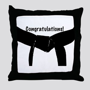 Black Belt Congratulations Throw Pillow