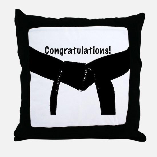 Black Belt Congratulations Throw Pillow