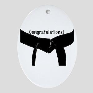 Black Belt Congratulations Oval Ornament