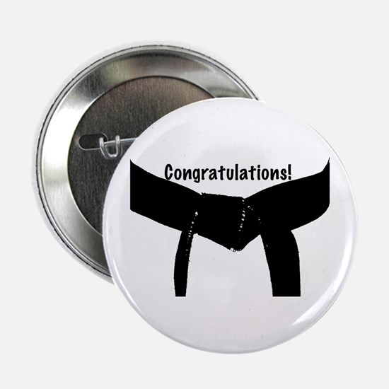 "Black Belt Congratulations 2.25"" Button"