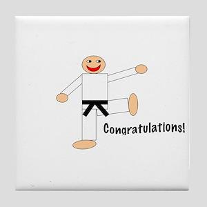 Black Belt Congratulations Tile Coaster