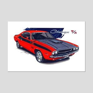 Dodge Challenger Red Car Mini Poster Print