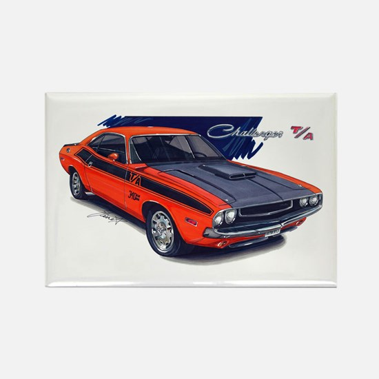 Dodge Challenger Orange Car Rectangle Magnet