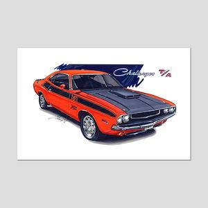 Dodge Challenger Orange Car Mini Poster Print